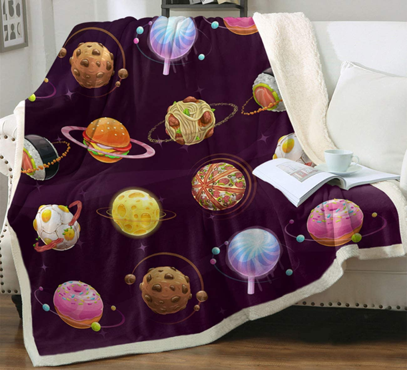 Space Adventure Cute Food Planets Throw Blanket Soft Lightweight Flannel Fleece Blanket for Baby Kids Youth Adult (Planets, 50