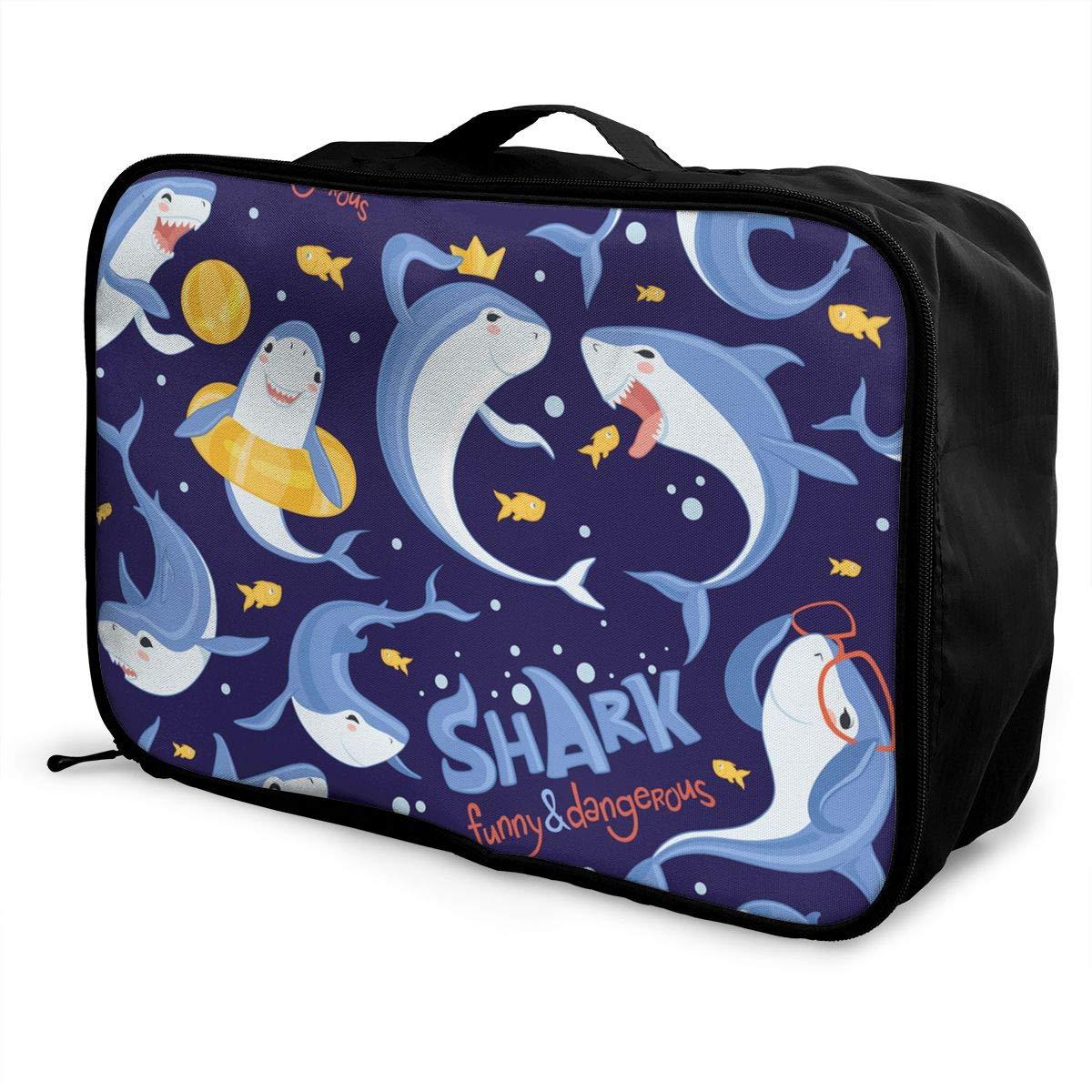Shark Pattern Sea Ocean Fish Blue Scare Animal Canvas Travel Weekender Bag,Fashion Custom Lightweight Large Capacity Portable Luggage Bag,Suitcase Trolley Bag
