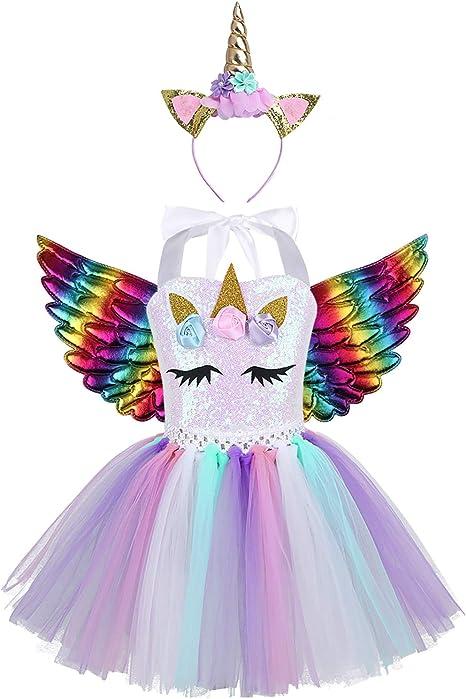 Alvivi Disfraz de Unicornio con Diadema Alas Niñas Tutú Vestido ...