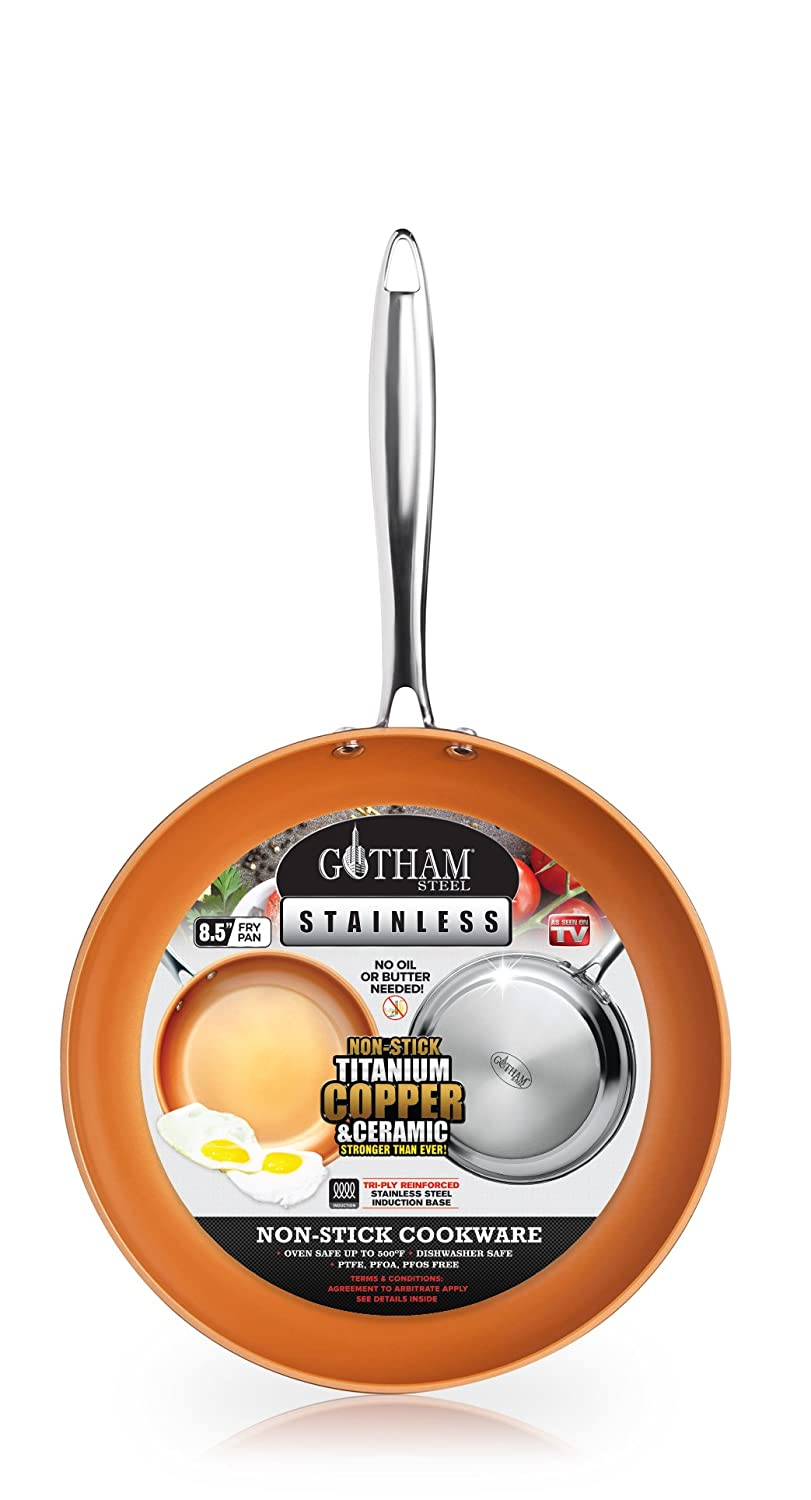 Gotham Steel Premium Triple Ply Reinforced Stainless Steel Frying Pan 8.5""