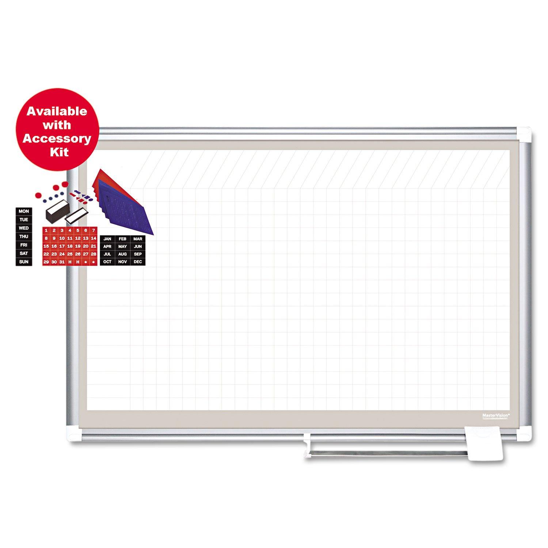 MasterVision GA27109830A All-Purpose Planning Board w/Accessories, 1x2 Grid, 72x48, White/Silver