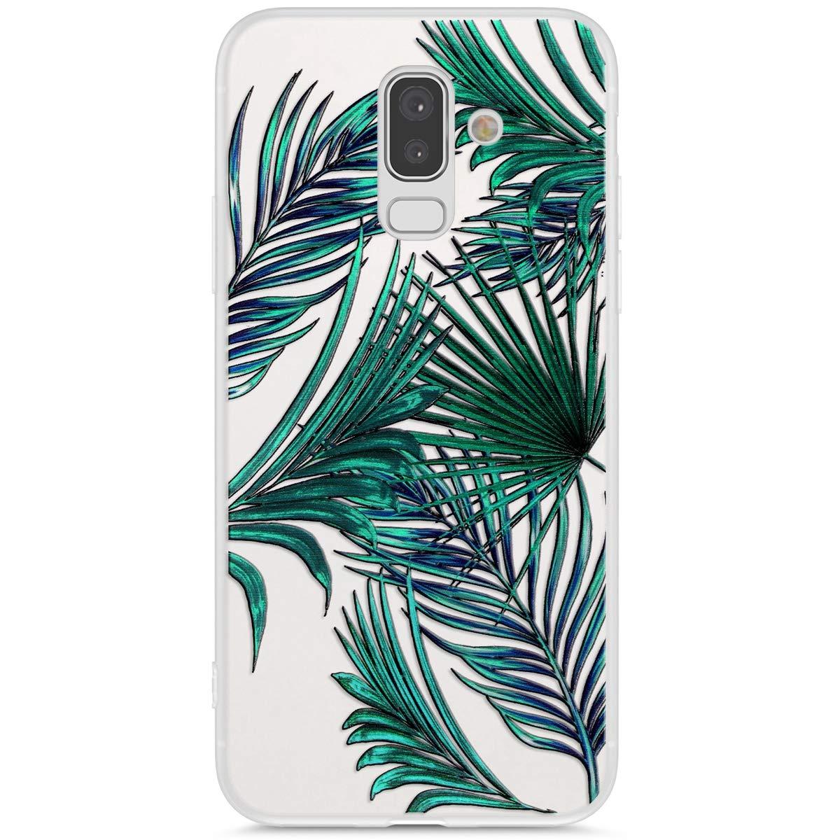 Uposao Coque Compatible avec Samsung Galaxy J8 2018 Coque Matte Etui Premium Semi Transparent Motif Palme Coque Soft TPU Silicone Anti-Choc Bumper Ultra Mince Hybrid Slim Case Coque Galaxy J8 2018