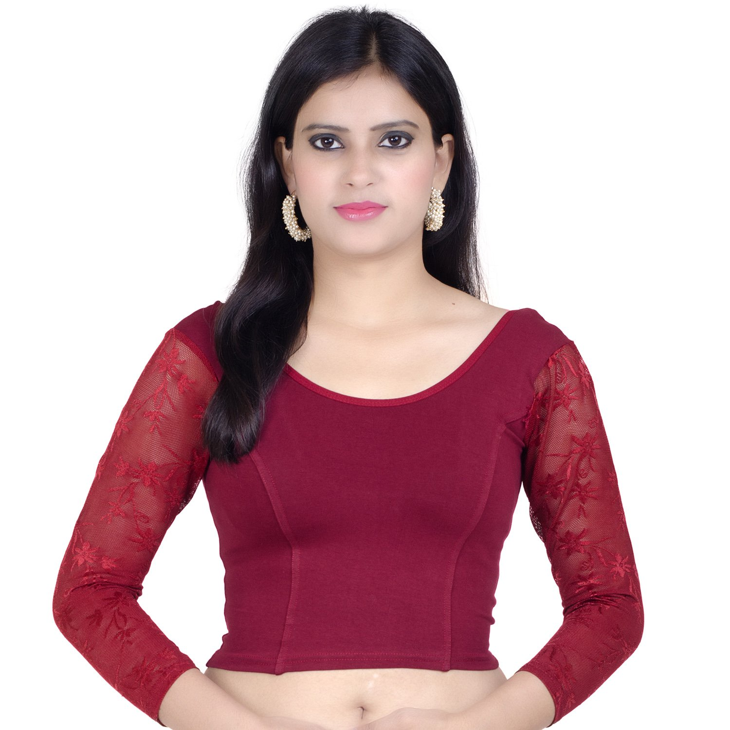 Chandrakala Womens Stretchable Readymade Maroon Saree Blouse Crop Top Choli (B101),Maroon-1,Free Size