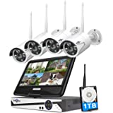 "[8CH Expandable, 2K] Hiseeu All-in-one with 8CH 10.1"" 1296P Monitor Wireless Security Camera System, 4pcs 3MP Indoor/Outdoor"