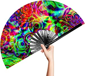 OMyTea Large Bamboo Rave Festival Folding Hand Fan for Men/Women - Chinese Japanese Handheld Fan with Fabric Case - for Electronic Dance Music Party, Performance, Decorations, Gift (Disco Bass)