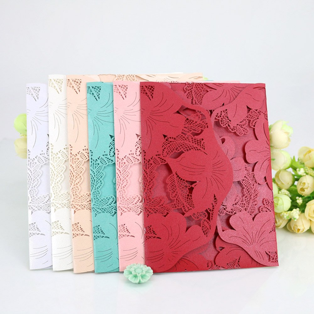 Amazon.com: WOMHOPE® 50 Pcs - Lace Petal Wedding Invitation Hollow ...