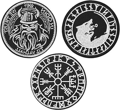 FaithHeart 3 Piezas Parches Apliques Sticker Decorativo Poliéster Bordado para Vaqueros Ropa Camisa Bolsas Gorras Símbolos Nordicos Vikingo Brújula Lobo Odín: Amazon.es: Hogar