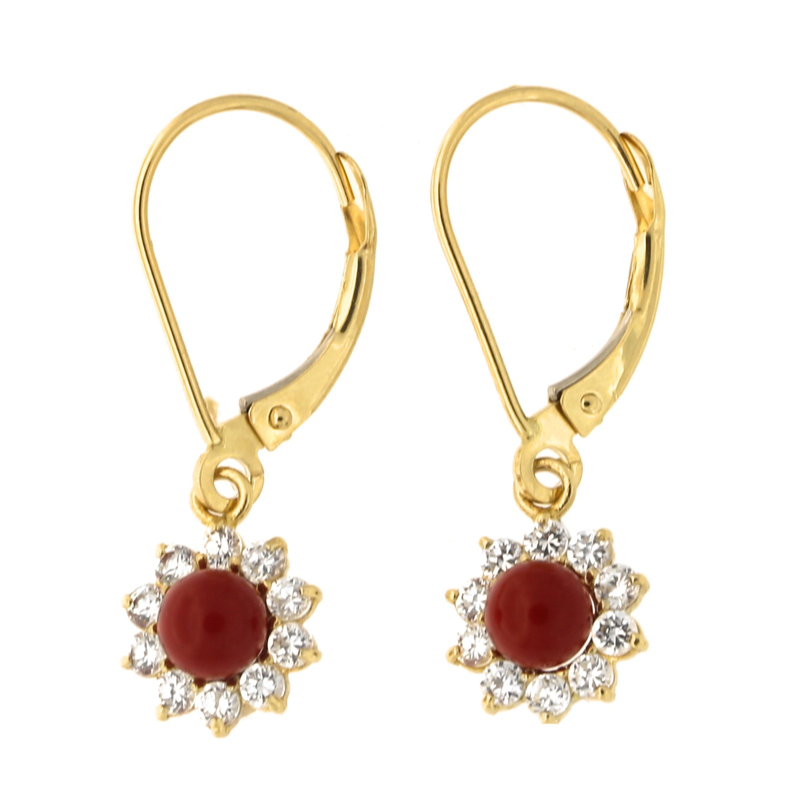 14k Yellow Gold Simulated Dark Red Coral Cubic Zirconia Halo Flower Dangle Leverback Earrings