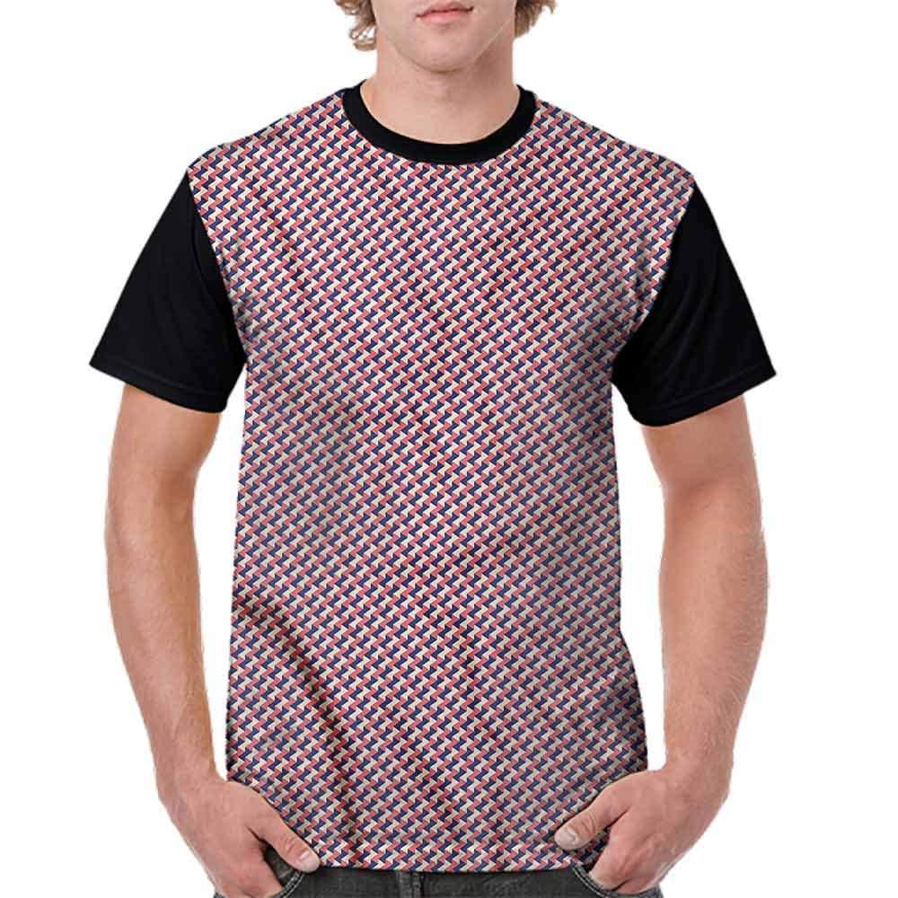 BlountDecor Cotton T-Shirt,Mosaic Grid Pattern Fashion Personality Customization