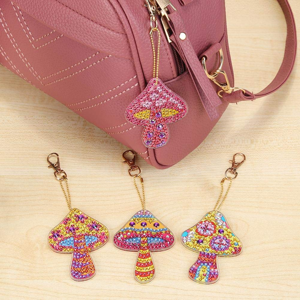 5pcs Butterfly Macrorun Key Ring with Lobster Clasp Hardware 5D DIY Diamond Keychains Rhinestone Crystal Jewelry Charm Pendant Keyring Gift