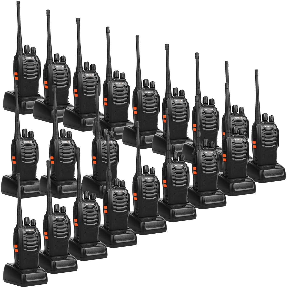 Retevis H-777 2 Way Radios UHF Long Range 16CH Emergency Portable Walkie Talkies Set (20 Pack) with USB Charging Base by Retevis
