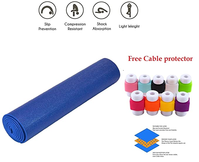 Easypro Fitness Non Slip Yoga Mat 6 mm For Men & Women (Blue Color) Pattern#866-Best-Popular-Product