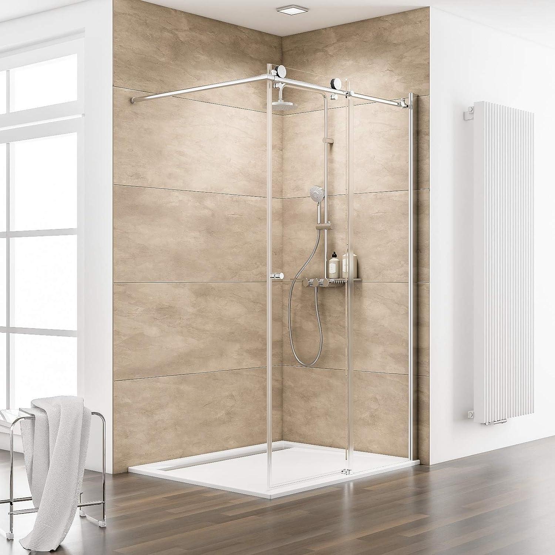 Schulte 4060991028885 mampara de ducha a la italiana, Walk IN deslizante, vidrio templado transparente, perfil aspecto cromado, 120 x 200 cm: Amazon.es: Bricolaje y herramientas