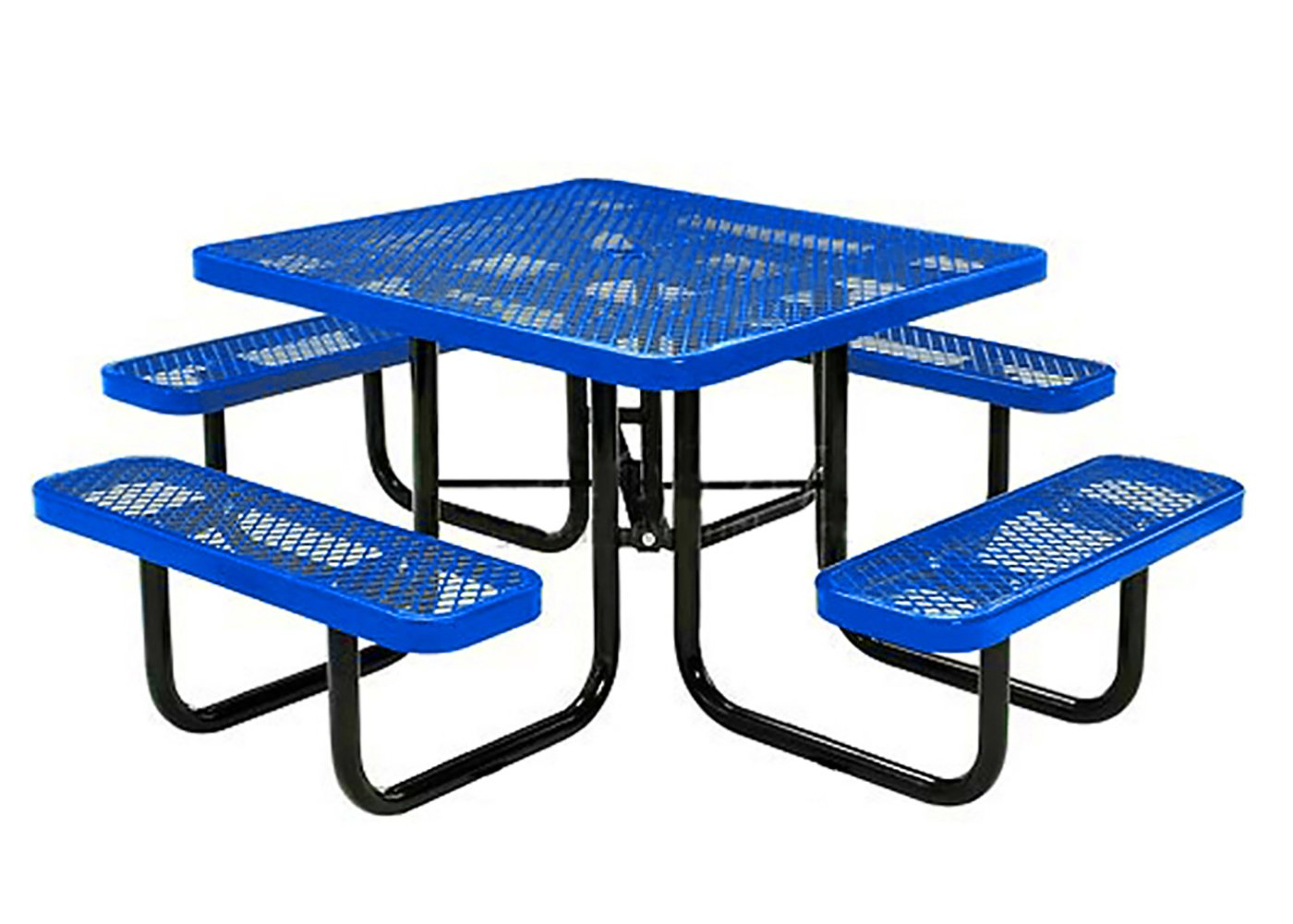 Lifeyard 46'' Expanded Metal Mesh Square Picnic Table with Seats Steel Frame for Commercial (Blue)
