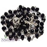 Amazon Price History for:Black Crystal Beads Rosary Catholic Necklace Holy Soil Medal & Crucifix Handmade