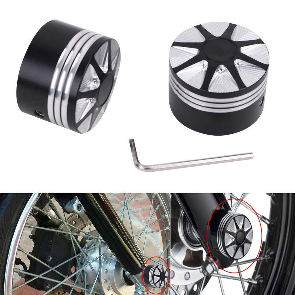 DLLL Motorcycle CNC Deep Cut Front Axle Cover Blot Caps For Harley Davidson Dyna Sportster XL 883 1200 X 48 Softail 08-17 Electra Street Glide Touring Road King FLHT