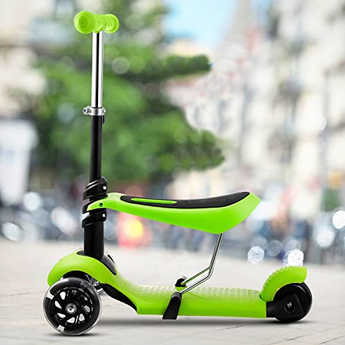 2-in-1 Kick Scooter with Removable Seat Great for Kids Toddlers Girls or Boys Adjustable Height w Extra-Wide Deck PU Flashing Wheels for Children from 2 to 14 Year-Old