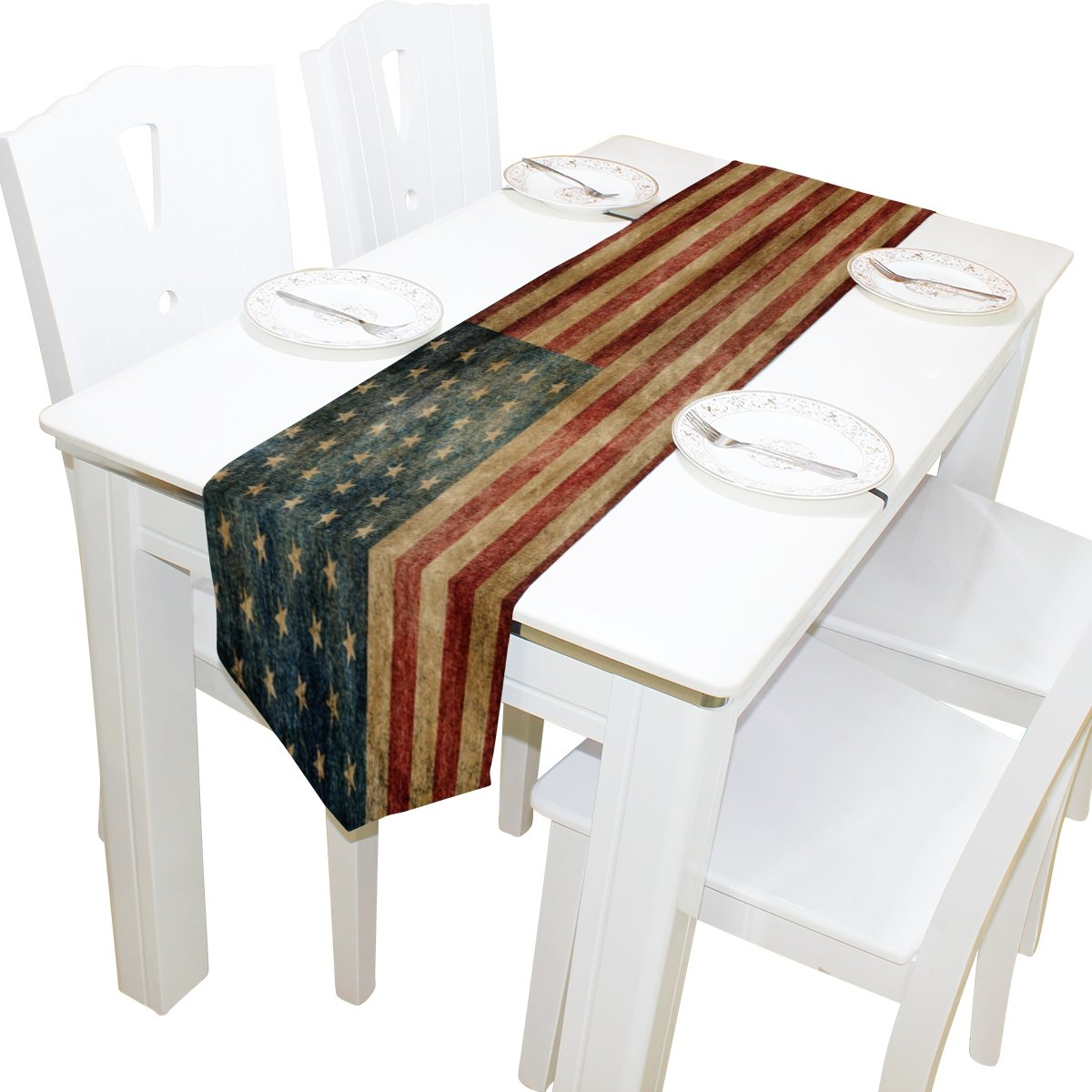 ALAZA Table Runner Home Decor, Vintage American Flag Table Cloth Runner Coffee Mat for Wedding Party Banquet Decoration 13 x 70 inches