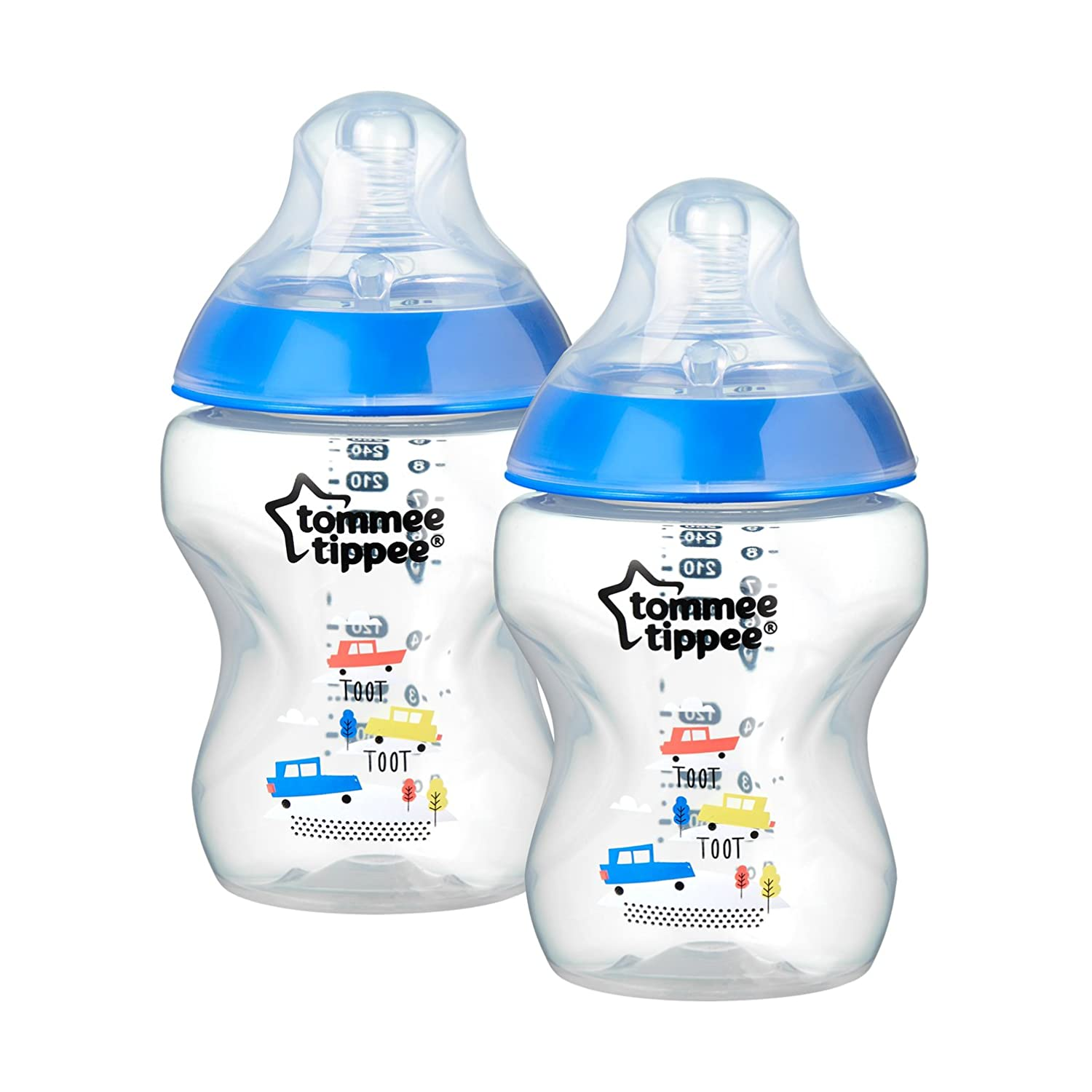 Tommee Tippee 42252171 Pack of 2 Anti-Colic Slow-Flow Baby Bottles 260, suitable for 0 Months and Up, assorted colors