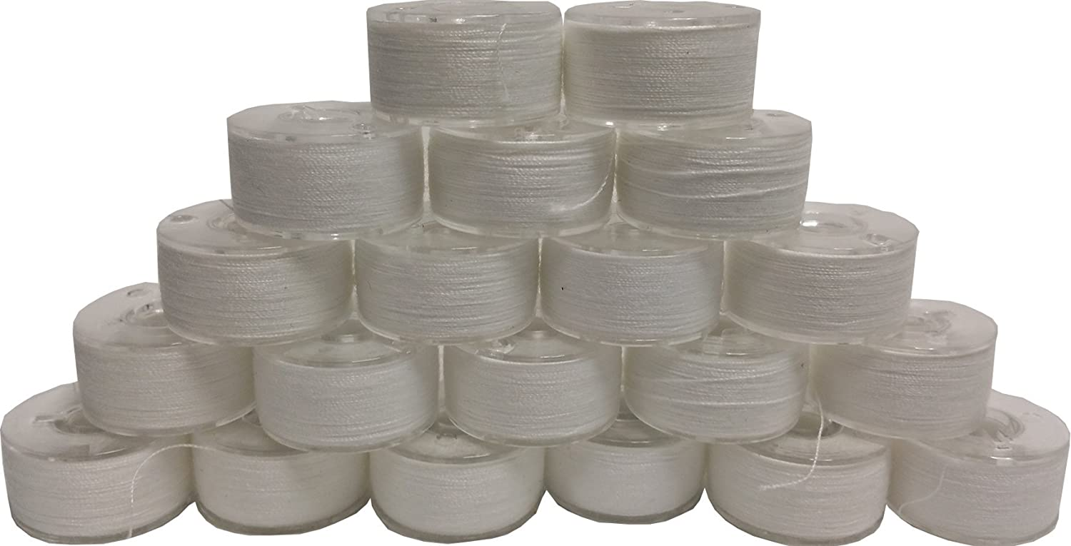 20 Prewound 90 Weight Thread Embroidery Bobbins Size A Class 15 Style 15J For Brother Baby Lock SA156 World WeidnerTM 90wtPrewoundWhite-20