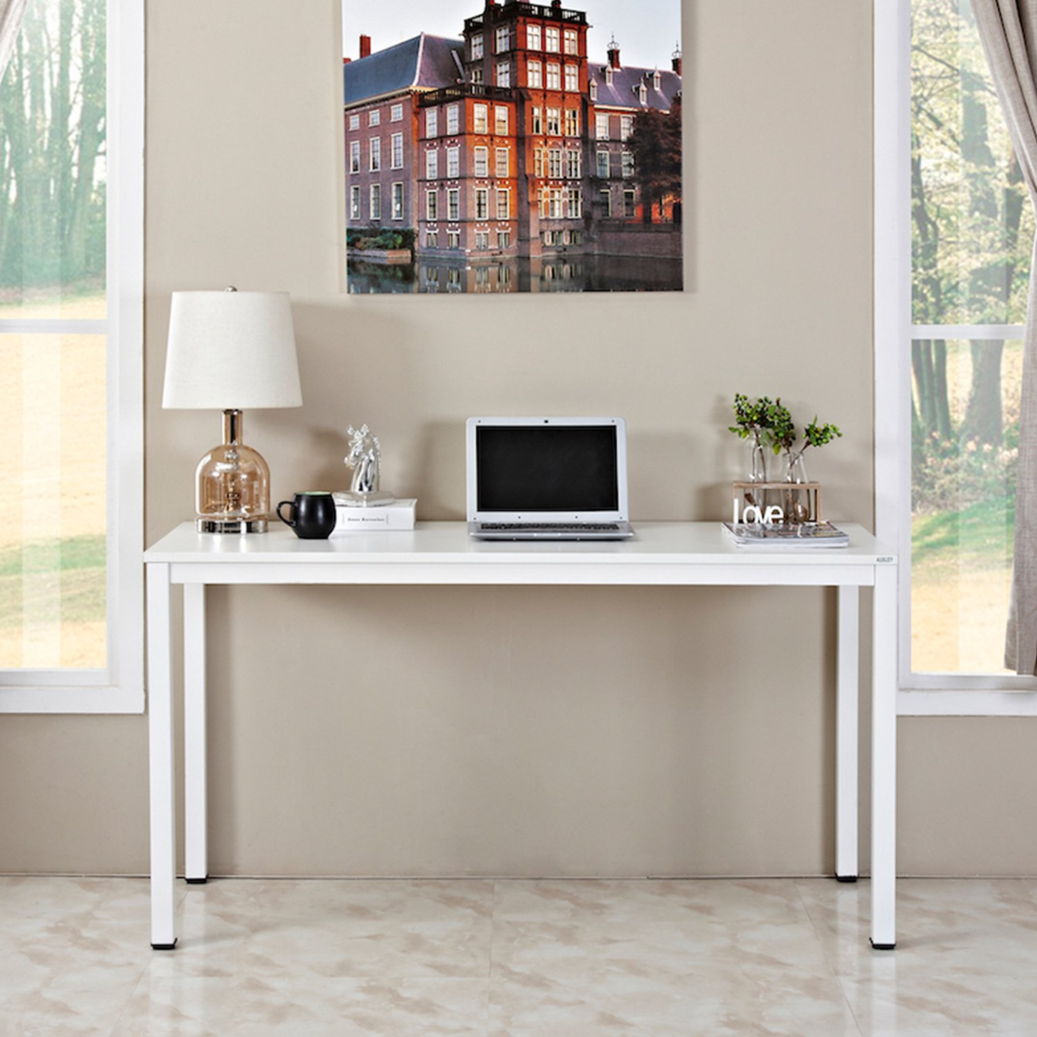 Auxley Computer 55 Inch Modern Simple Writing Desk for Home Double Deck Wood and Metal Office Table, 55 , White