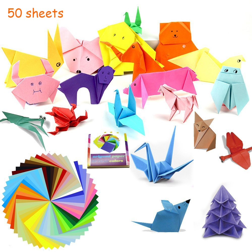 Origami Paper,IBanana 150 Sheets 50 Vivid Colors Origami Paper-Double-Sided,15x15cm for DIY Arts and Crafts Projects