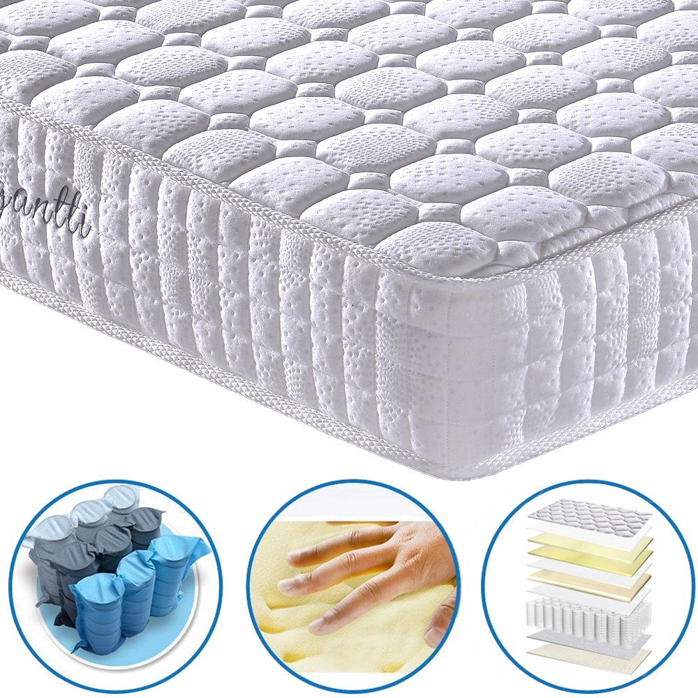 [Limited Offer] Vesgantti 9.4 Inch Multilayer Hybrid Full Mattress - Multiple Sizes & Styles Available, Ergonomic Design with Memory Foam and Pocket ...