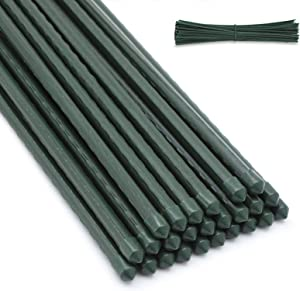 GROWNEER 25 Packs 5 Feet Steel Garden Stakes Plant Stake Plant Cage Supports with 100 Pcs Twist Ties, Tomato Stakes Plant Sticks for Tomato Plants, Sapling, Cucumber, Fences, Beans