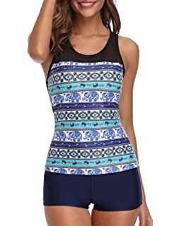 5f05c1cdcb Yonique Racerback Tankini Set Mandala Printed Top with Boyshort Two Piece  Swimsuits for Women
