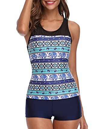 c812fd6c90b6c Image Unavailable. Image not available for. Color  Yonique Racerback Tankini  Set Mandala Printed Top with Boyshort Two Piece Swimsuits ...