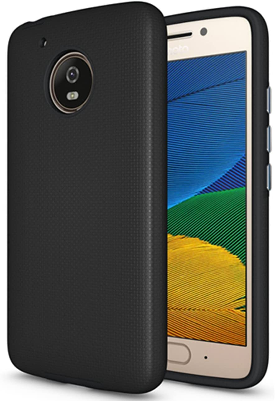 Moto E4 Case (U.S. Edition), Dretal [Shock Absorption] Ultra-Thin Anti-Slip Armor Silicone Rubber Heavy Duty Hybrid Protective Cover for Motorola Moto E4 / Moto E (4th Generation)(Black)