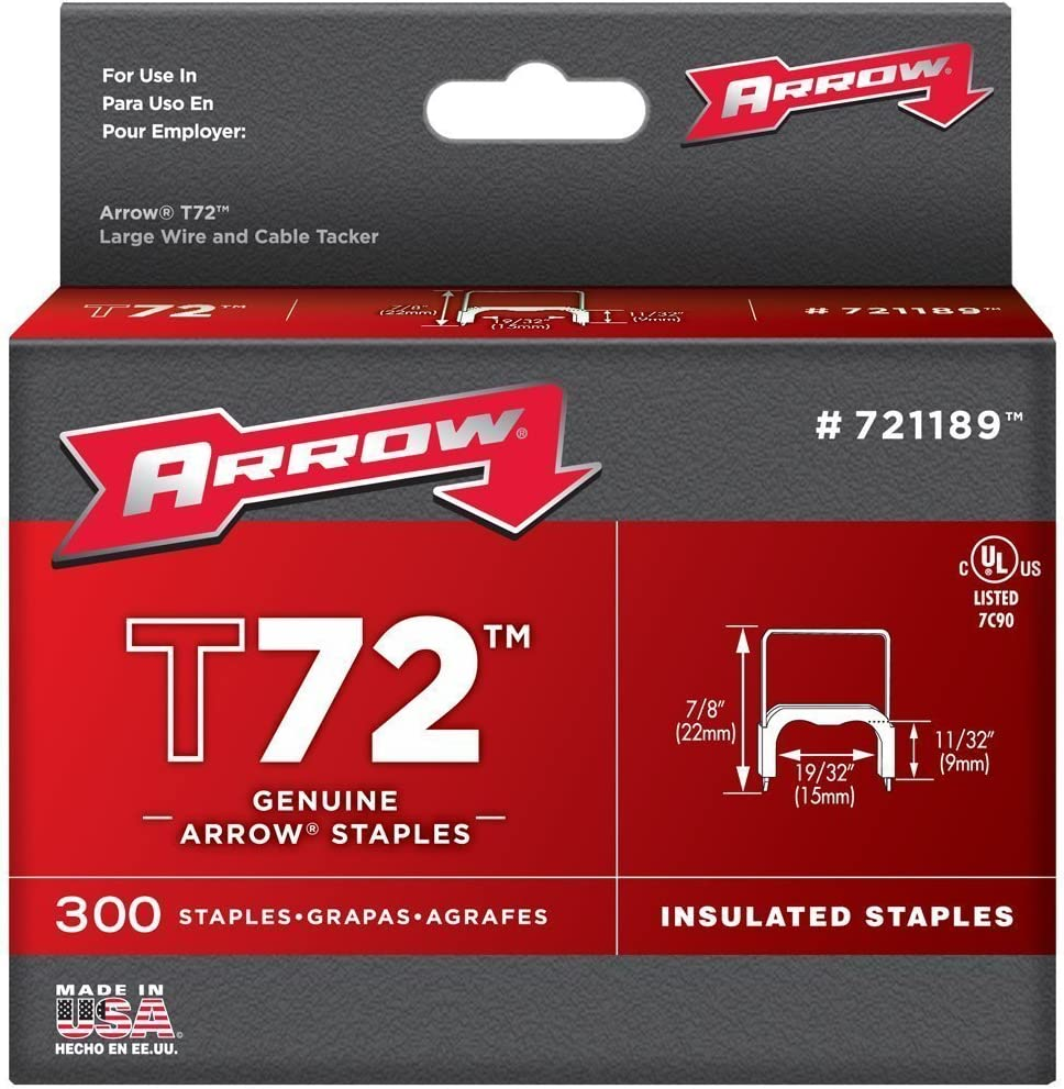 Arrow Fastener 721189 2 Pack 1//2in T72 Insulated Staple 300//Box