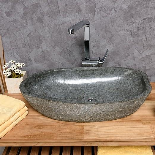 Waschbecken rund stein  WOHNFREUDEN Naturstein Waschbecken rund oval 60 cm innen poliert ...
