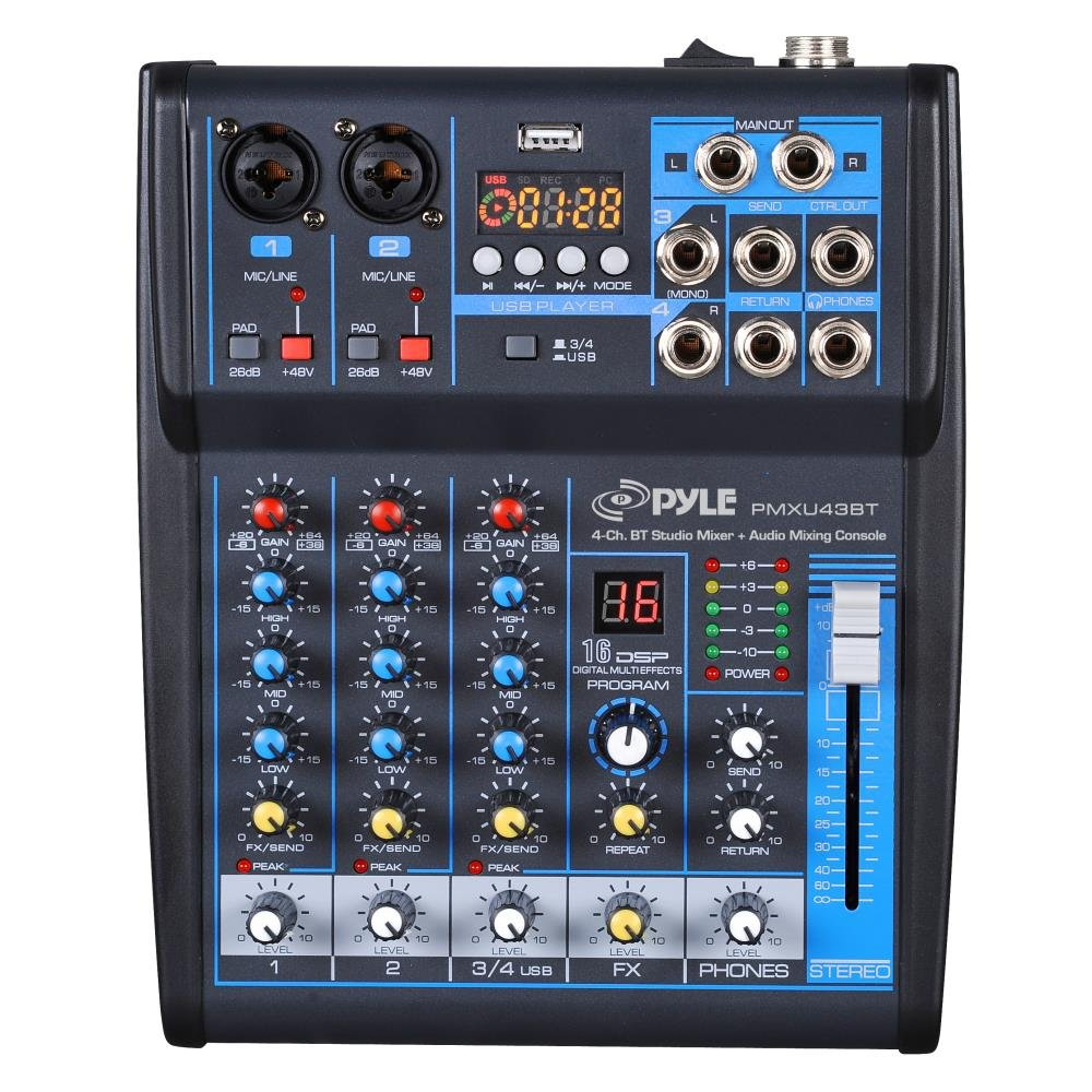 Pyle Professional Audio Mixer Sound Board Console System Interface 4 Channel Digital USB Bluetooth MP3 Computer Input 48V Phantom Power Stereo DJ Studio Streaming FX 16-Bit DSP processor - (PMXU43BT) Sound Around