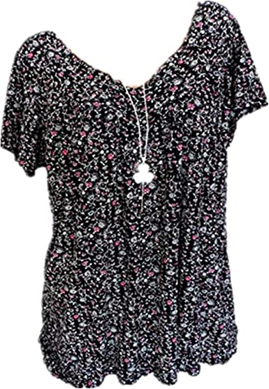 Plus Size Womens Summer Floral V Neck Short Sleeve Blouse Casual Pullover Tops