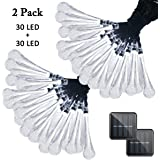 Vmanoo Christmas Decorative Solar Powered Lights, 30 LED 19.7ft 8 Modes Water Drop Fairy String light for Outdoor Indoor Home Patio Lawn Garden Party Wedding Holiday Valentines Gift 2 PACK (White)