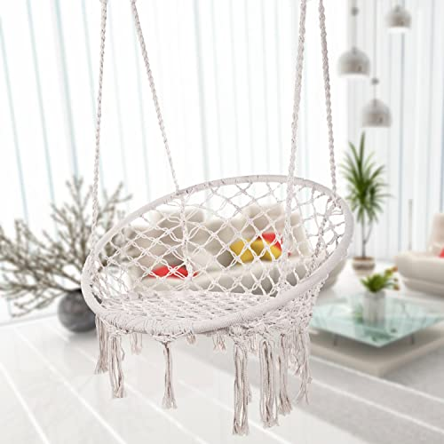Caromy Hammock Chair Macrame Swing, Hanging Lounge Mesh Chair Durable Cotton Rope Swing for Bedroom, Patio, Garden, Deck, Yard, Max Capacity 265 Lbs White