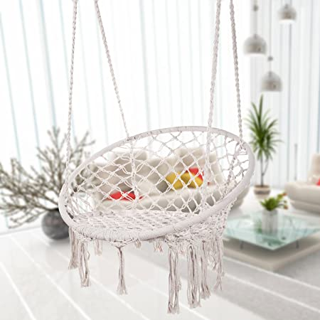 Bormart Hammock Chair Macrame Swing, Hanging Lounge Mesh Chair Durable Cotton Rope Swing for Bedroom, Patio, Garden, Deck, Yard, Max Capacity 265 Lbs White
