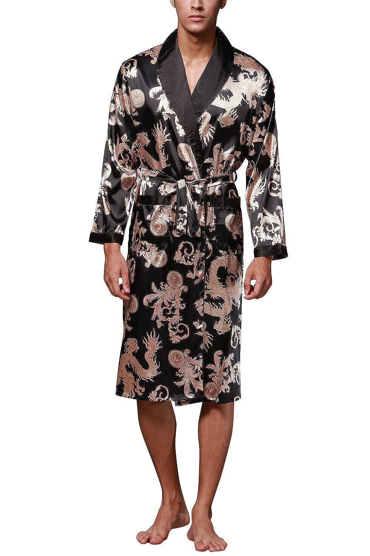 dolamen men s dressing gown bathrobe satin kimono bath robe
