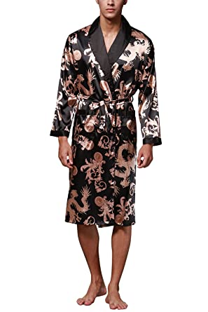 Dolamen Mens Dressing Gown Bathrobe Satin, Kimono Bath Robe Housecoat Nightwear Pyjamas (Large,