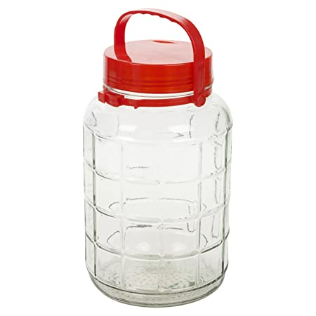 8 liter large glass jar container with red lid - Large Glass Jars With Lids
