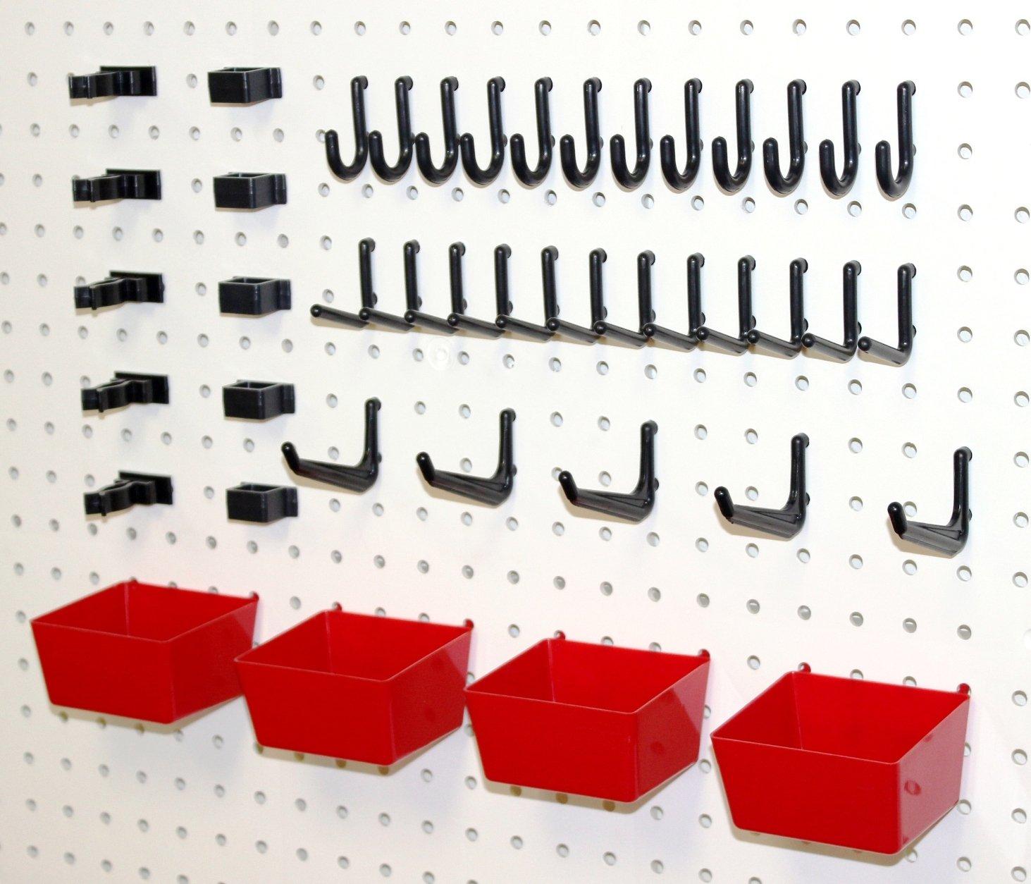 WallPeg Pegboard Hooks Plastic Pegboard Bins 26 Pc. Kit Tool Holders Workbench
