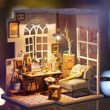 Gut ROBOTIME Miniature House   Holz Puppenhaus Für 14 Jahre Alte Mädchen   Wohnzimmer  Zubehör Und Möbel