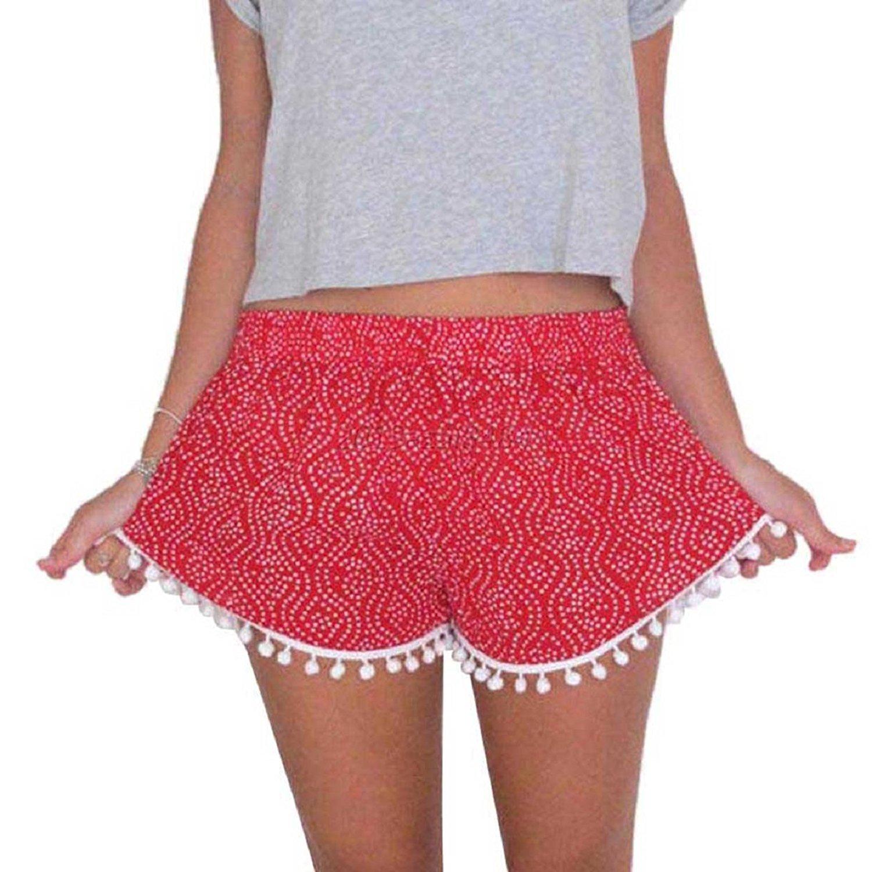 Malloom® Women Polka Dot Summer Casual Tassel Shorts 071001x