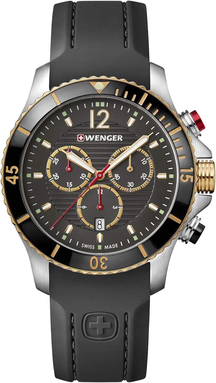 Wenger Hombre Seaforce Chronograph - Reloj de Acero Inoxidable de Cuarzo analógico de fabricación Suiza 01.0643.112