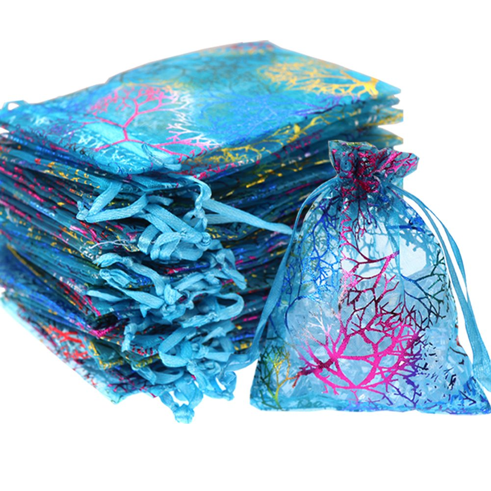 SumDirect 100Pcs 5x7 Inches Drawstring Organza Bags Jewelry Favor Pouches with Coralline Print for Gift,Wedding,Party,Festival ,Blue