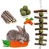 OVERTANG Rabbit Chew Toys, Improve Dental Health, No Glue, 100% Natural Materials by Handmade. Loofa Carrot Toys, Licorice Ba