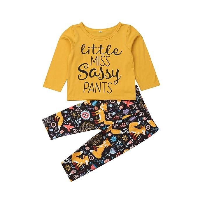 e7dc93fa83b0 Newborn Baby Girls Boy Cartoon Fox Clothes Set Long Sleeve T-Shirt+Pants  Toddler