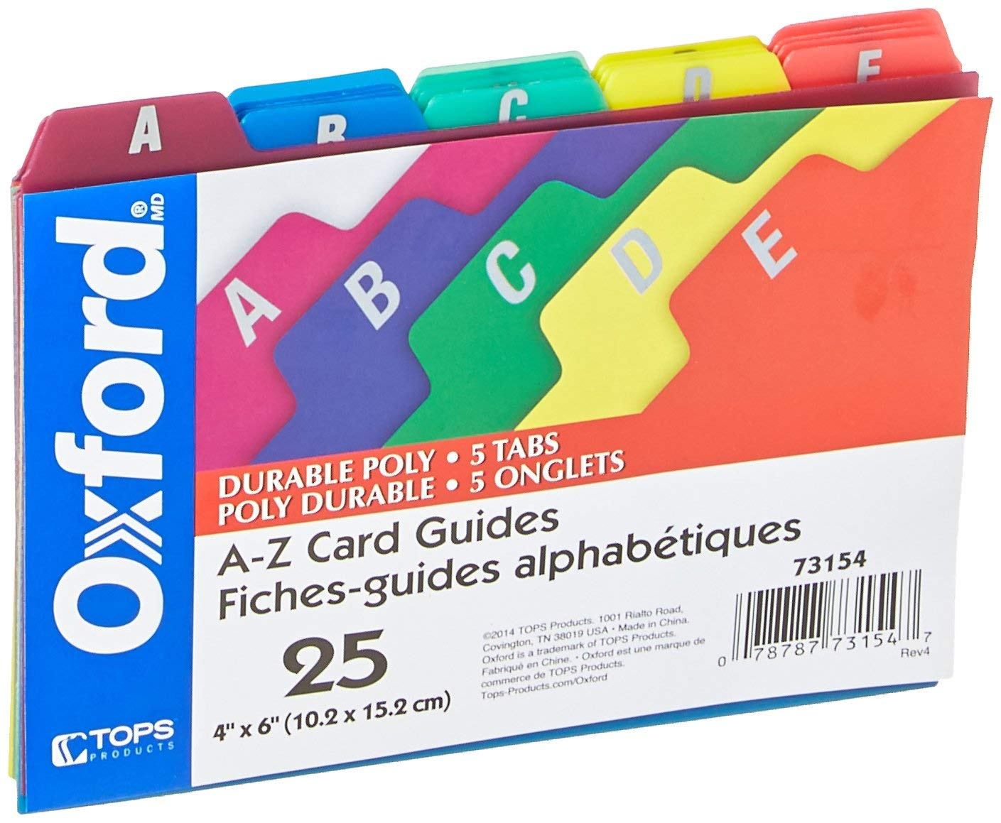 Oxford Poly Index Card Guides, Alphabetical, A-Z, Assorted Colors, 4'' x 6'' Size, 25 Guides per Set (73154) (2 Set)