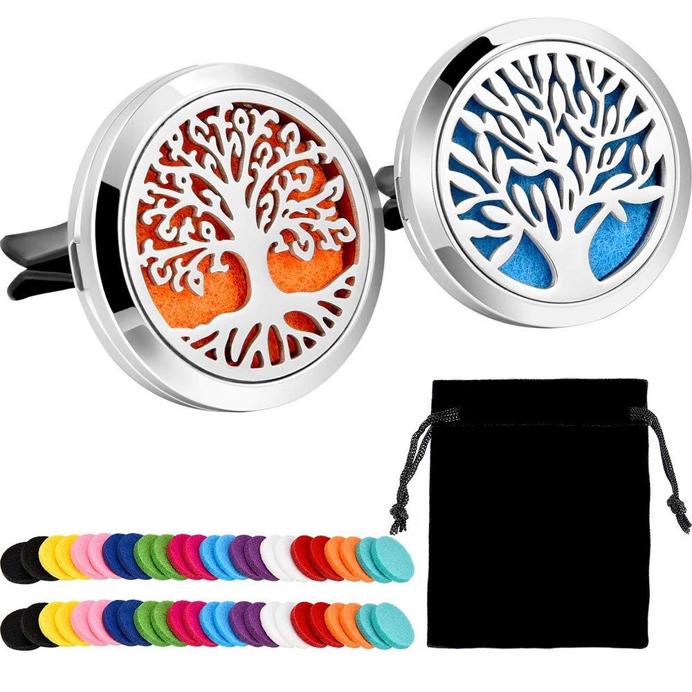 UWOOD 2 pezzi in acciaio INOX 316L auto diffusore di oli essenziali per aromaterapia deodorante Vent clip medaglione con 15 pezzi di ricambio feltro Pad (Tree Patterns)